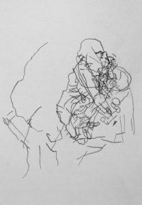 Kunstunterricht - Blindes Konturenzeichnen